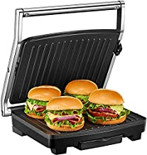 Panini Press, Deik Sandwich Maker with Temperature Control, 4-Slice Extra Large Panini Press Grill, 1500W Non-Stick Coated Plates and Removable Drip Tray, Stainless Steel