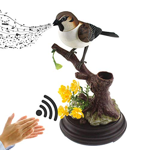 Tipmant Cute Electronic Pets Simulation Sparrow Bird Can Move Chirp Pen Holders Office Home Decor Ornament Kids Toys Birthday Gifts