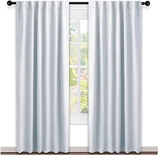 NICETOWN Living Room Darkening Curtain Panels - (Greyish White Color) W52 x L95, 2 PCs, Back Tab/Rod Pocket Room Darkening Window Treatment Draperies