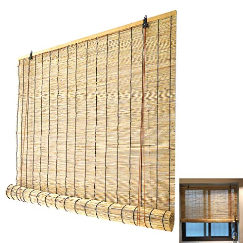 Zlovne Bamboo Roller Blinds,Retro Bamboo Roller Shades Natural Reed Curtain,Breathable Bamboo Roll Up Window,for Outdoor/Patio/Door,Roll Up Shades (120x180cm/47x71in)