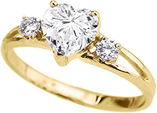 Precious 10k Yellow Gold CZ Heart Proposal/Promise Ring with White Topaz