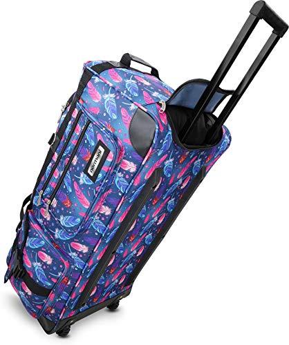 normani Leichte XXL Reisetasche Rollenreisetasche Trolley Sporttasche mit Rollen Farbe Fancy Feathers Größe 100 Liter