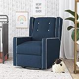 Baby Relax Mikayla Swivel Glider Chair, Nursery Room, Dark Blue Recliner