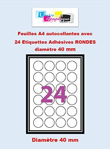 15 A4 foglio di 24 etichette autoadesive rotondi etichetta adesiva 400 millimetri 24 di carta rotondo per stampanti a getto d'inchiostro e laser