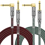 OTraki 2 Pack Guitar Cables 10ft 1/4 Inch Instrument Cable Straight to Right Angle Electric Bass Amp Cord for Keyboard Professional Audio, Woven Tweed Cord with 6.35mm Gold Plated Plug