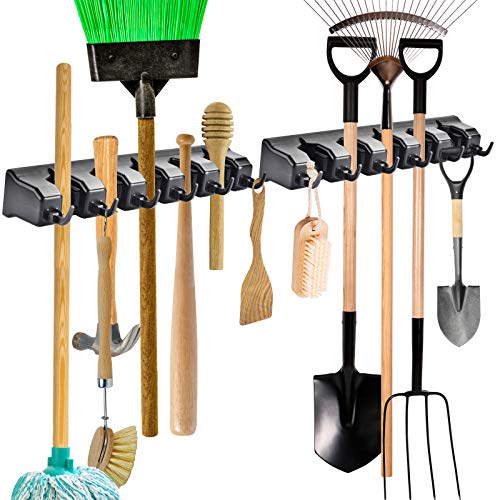 ONMIER 2 Pack Mop and Broom Holder, Multipurpose Wall Mounted Organizer Storage Hooks, Ideal Tools Hanger for Kitchen Garden, Garage, Laundry Room (Black)