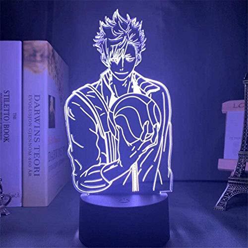Lámpara de ilusión 3d luz nocturna llevó anime haikyuu tetsuro kuroo lámpara de mesa creativa 7 colores regalo de cumpleaños para niños dormitorio de vacaciones encabezado decorativo...
