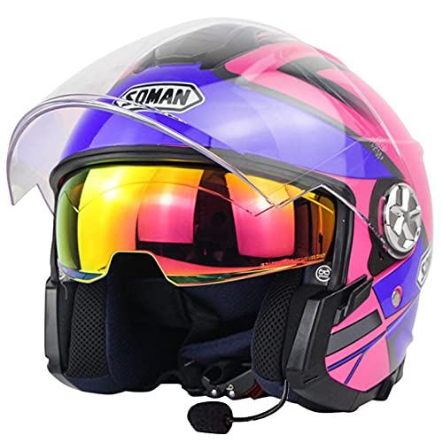 ZLYJ Casco Jet De Motocicleta Bluetooth con Visera para El Sol Casco Protector De Medio Casco De Motocicleta Vintage para Respuesta Automática, Aprobación ECE B,S(52-53cm)