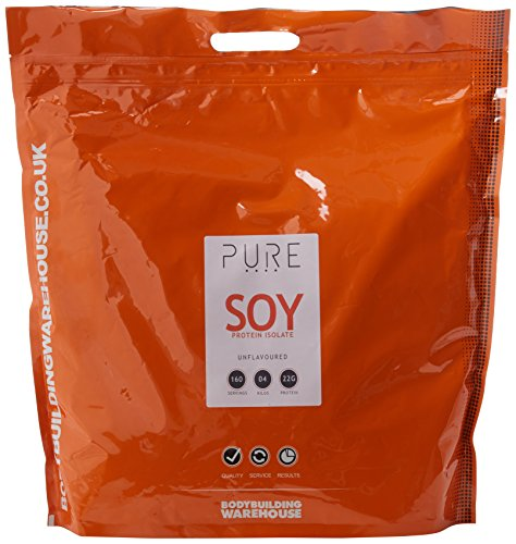 Bodybuilding Warehouse Pure Vegan Soy Protein Isolate Powder - 22g Protein Per Serving - Unflavoured 4kg