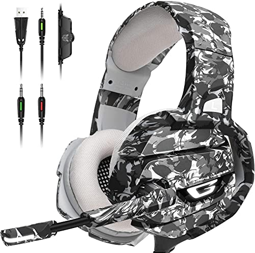 ONIGAL Gaming Headset with 7.1 Surrounding Deep Bass, 360°Adjustable Noise Canceling Microphone, Led Light and Over Ear Memory Earmuff, Camo Gray Gaming Headphone for PS4 PS5 PC