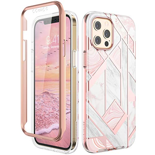 Miracase Compatible with iPhone 12 Pro Max Case with Built-in Screen Protector(6.7',2020), Full Body Protective Stylish Shock-Absorption Bumper Cover Case for iPhone 12 Pro Max(5G),Marble Pink