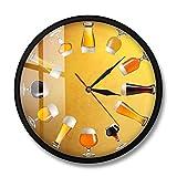 KKLLHSH Varios Cerveza Artesanal fría Reloj de Pared Elaboración de Cerveza Reloj silencioso Reloj artístico Cervecero casero Celebre la Diversidad de la Cerveza Arte de la Pared Decoración-2