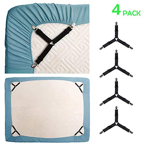 KALLC Bed Sheet Holder Straps 4 Pack Adjustable Triangle Elastic Mattress Sheet Clips Mattress Cover Holder Fasteners Bed Sheet Fasteners Heavy Duty Grippers Clips Keeping Sheets Place for Bedding