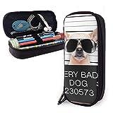 ZhaXiPingCuo Creative Dogs Funny Chihuahua Glasse Cute Pen Astuccio Leather Big Capacity D...