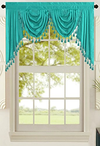 """All American Collection New Attached Solid Faux Silk Double Waterfall Valance with Tails (55"""" x 32"""", Turquoise Valance)"""