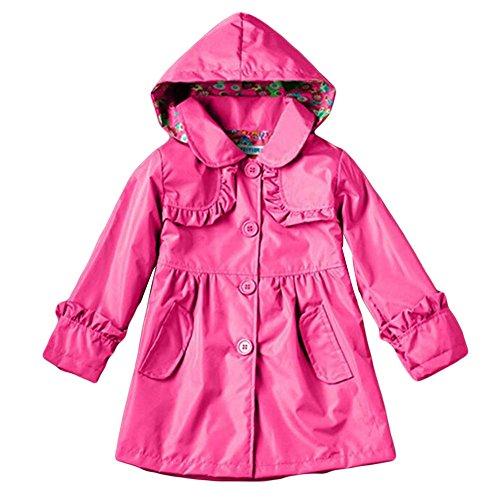 Haodasi Haodasi Girls Rain Jacket Hooded Raincoat Regenmantel Wasserdicht Waterproof Outwear Coats Kids Clothes 2-7Year