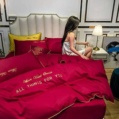 LYzpf Bettwäsche Vierteiliges Set Bett Bettwaren Super Weiche Mikrofaser Atmungsaktive Stickerei Baumwoll Bettbezug & Kissenbezug Pflegeleicht,red,1.5 * 2M