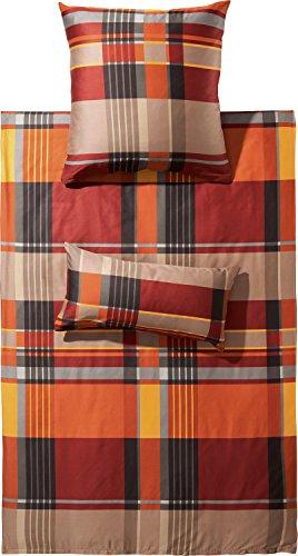 Erwin Müller warme Bettwäsche, Bettgarnitur Flanell Karo rot-braun Größe 135x200 cm (40x80 cm) - pflegeleicht, bügelleicht, 100% Baumwolle, mit Reißverschluss (weitere Größen)