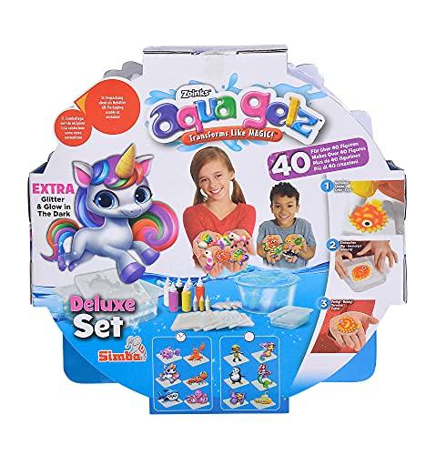 Simba 106322452 Aqua Gelz Deluxe Set, Soft Figuren in 3D gestalten, Farbgel in Formen tauchen, ab 8 Jahren