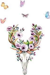 Sika Deer Skull Butterfly Flutters DIY Vinyl Wall Stickers Bedroom Rooms Home Decor Art Decals 3D Wallpaper Decoration