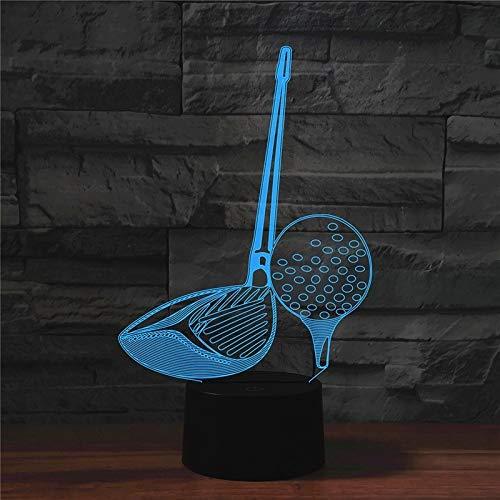 LWLHOUSE Durable Forma de Golf 3D Lámpara de Mesa de luz LED de visión, USB y batería.