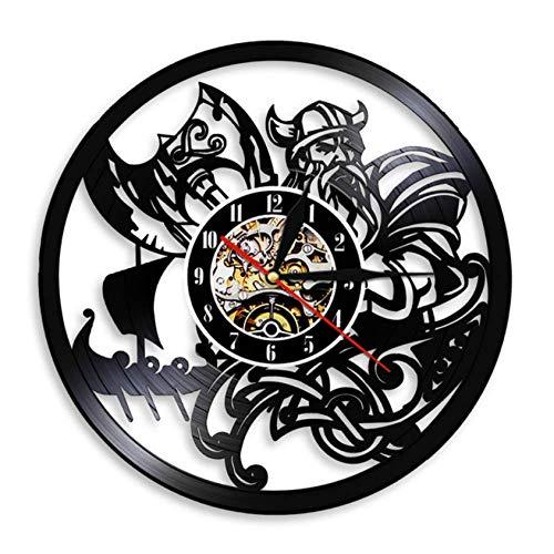 Strnry Wanduhr Aus Vinyl Skandinavische Wikinger Beten Odin Asgard Valhalla Mittelalterliche Wikinger Ragnarok Nordic Runes Nordland Axe Gift Schallplatte Wanduhr Wand Dekor Vinyl Uhr