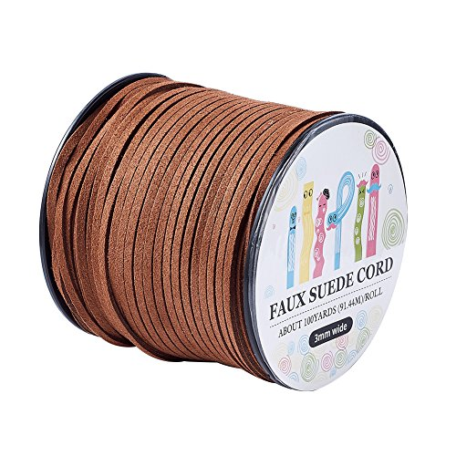Pandahall 98Yard 90m/roll 3x1.4mm Faux Suede Cord String Leather Lace Beading Thread Suede Lace Double Sided with Roll Spool 295feet SaddleBrown