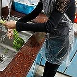 QTQHOME Plástico Desechable Aantas De Polietileno Claro Delantal PE,Delantaless De Cocina Impermeable,Delantal De Restaurante para La Industria Alimentaria Pintura Artes N'artesanía100pcs Armada