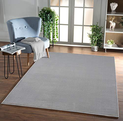 Mirano Glänzender, Luxuriöser, Hochwertiger Wohnzimmer Teppich, Dichter Kurzflor, Super Soft, Grau, 120x170 cm