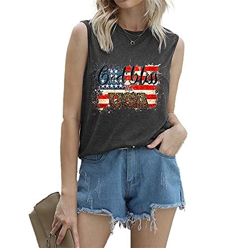 "Mayntop Camiseta de manga corta para mujer con diseño de bandera de Estados Unidos con texto en inglés ""God Bless"" para el 4 de julio, A-gris oscuro, 38"