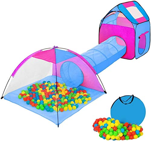 Woodtree Igloo Tent Children with Tunnel + 200 balls + Bag - Game tent - in Choice (Multicolor 1 | No. 401027) Color: Multicolor 2 | (Color : Multicolore 2 | No. 401233)