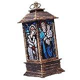 ABOOFAN Weihnachten Führte Sturmlaterne Kirche Jesus Muster Simulierte Kleine Öllampe
