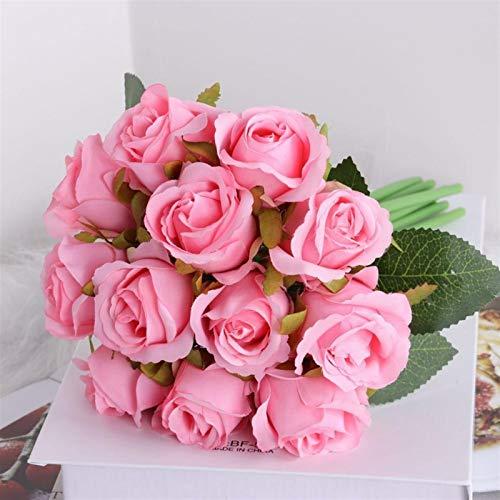 Künstliche Blumen 12 stücke Künstliche Rose Blumen Braut Blumenstrauß Champagner Rosa Rote Seide Blumen Rose für Zuhause Braut Hochzeit Festival Dekor (Color : H03)