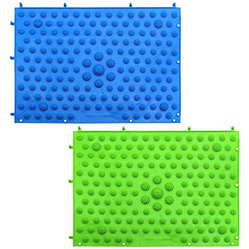 DXLing 2 Unidades Esterilla de Masaje de Pies TPE Acupuntura Shiatsu Estera del Masaje de Pies Esterilla de Terapia de Acupresión para Reflexología de la Circulación Sanguínea BLU e Verde