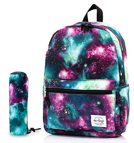 TRENDYMAX Galaxy-Rucksack für Schülerinnen & Schüler, strapazierfähige und niedliche Büchertasche mit 7 geräumigen Taschen, Rucksack Mäppchen Set, Grün
