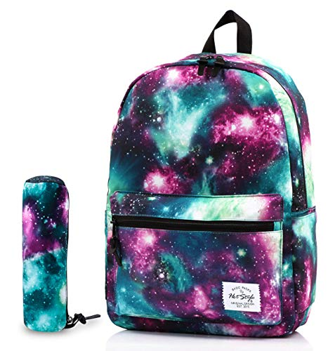 TRENDYMAX Galaxy Backpack for School Girls & Boys, Durable and Cute Bookbag with 7 Roomy Pockets, Green, Bundles With Matching Cylindrical Pencil Bag
