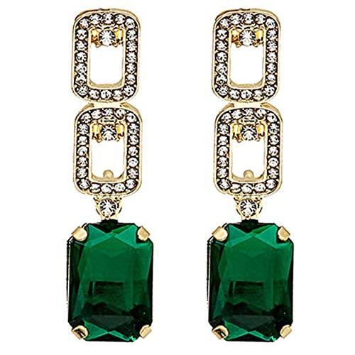 YLXAJKJGS-XCH Pendientes Femeninos hipoalergénicos, Todo fósforo, Diamantes de imitación Verdes, Borla, Pendientes Colgantes, declaración de Moda, Pendiente Colgante, joyería