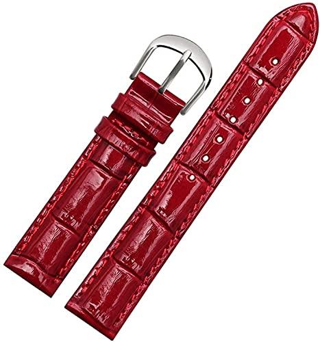 PINGZG Mira la Brazalete de la Pulsera Mujer Reloj de Cuero Genuino Banda de Reloj de Cuero 10mm-22mm de Relojes, cómodo Transpirable (Color : Bright Red Silver, Size : 14mm)