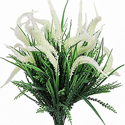 Artificial Plants Flowers, 4pcs Faux Plastic Setaria Shrubs Simulation Greenery Bushes Indoor Outside Home Garden Office Wedding Decor (White)