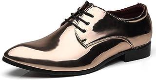 YONGFLY Zapatos de vestir formales elegantes con punta puntiaguda para hombres de Derby, cordones Oxford de cuero formal d...