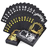 Joyoldelf 2 Decks of Cool Black Playing Cards, Skull Pattern Waterproof Poker Cards Set with Box for Kids & Adults on Party and Games, 1 Gold + 1 Sliver