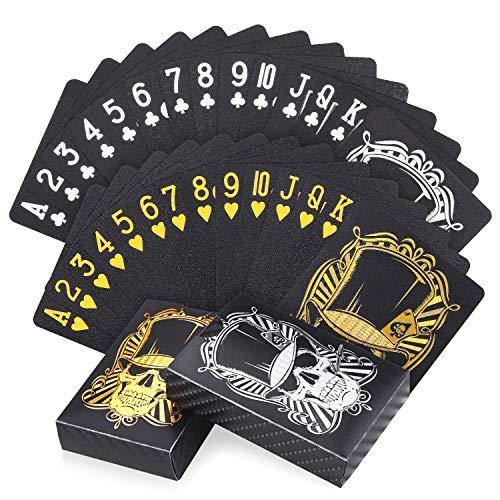 joyoldelf 2 Pezzi Carte da Magia, Impermeabile Professionali Set di Carte da Poker, Fantastico Design con Motivo a Teschio, Uno Oro + Uno Argento