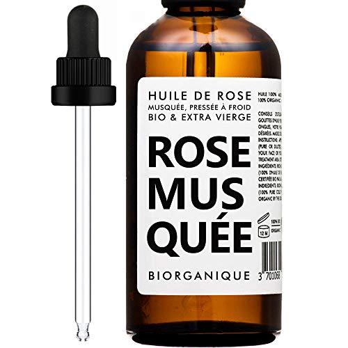 Aceite de Rosa Mosqueta Orgánico - 100% Puro, Natural, Prensado en frio y Orgánico - 50 ml - Cuidado Antienvejecimiento, Piel, Cicatrices y Estrías.