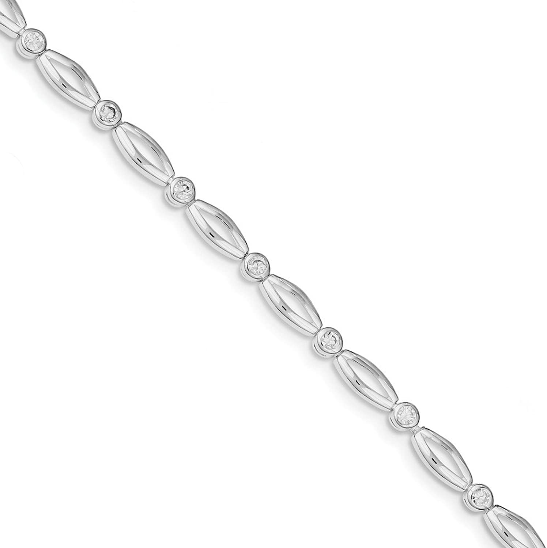 Beautiful Sterling silver 925 sterling Sterling Silver Rhodiumplated 7inch Polished Fancy CZ Bracelet