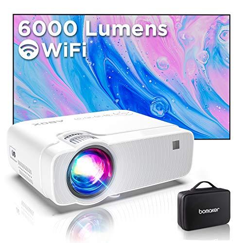 "Proyector WiFi, Proyector Portátil, 6000 Lúmenes, Soporta 1080p Full HD, Cine en Casa 300"" Duplicar Pantalla para Android/iPhone Smartphone iPad,HDMI/USB/VGA/AV/SD GC357"