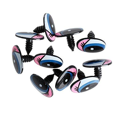 Xuniu 5 Paare DIY Puppen Augen, Oval Blau Sicherheit Kunststoff Augen Spielzeugpuppen 24x18mm
