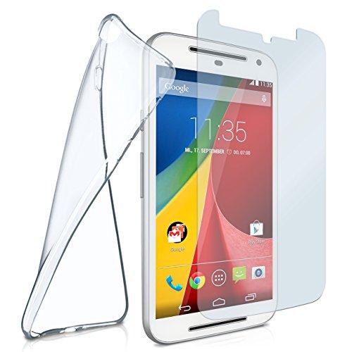 Silikon-Hülle für Motorola Moto G2 | + Panzerglas Set [360 Grad] Glas Schutz-Folie mit Back-Cover Transparent Handy-Hülle Motorola Moto G 2. Generation Hülle Slim Schutzhülle Panzerfolie