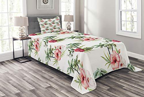 ABAKUHAUS Hawaii Bedsprei, Palmbomen Hibiscus, Decoratieve Gewatteerde 2-delige Spreiset met 1 Kussensloop, 170 x 220 cm, Reseda Green Pale Pink