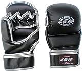 LEW Black/Sliver Super Star MMA Grappling Gloves (Black, S/M)
