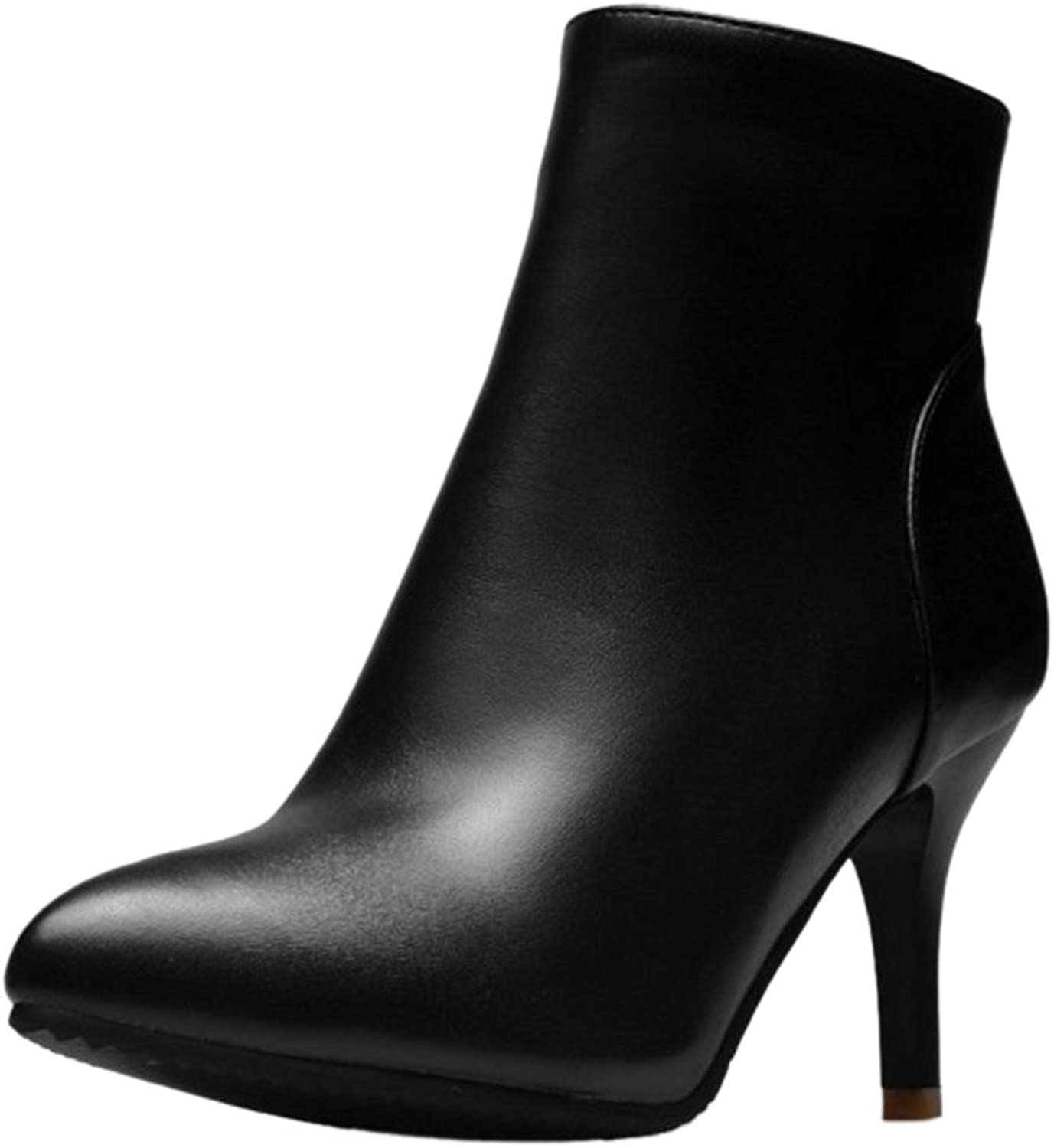 Smilice Women Dress Stiletto Pointed Toe Ankle Boots with Solid color Black